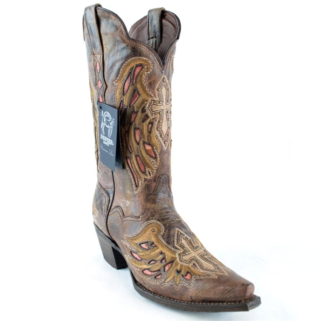 ad77385db95 DEN940LCAHC DENVER BOOTS WINGS CROSS WOMENS COWBOY BOOTS