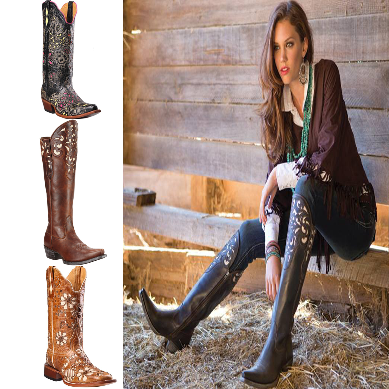 brown old gringo embroidered western cowboy / cowgirl boots for women 2017